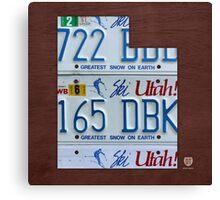 Utah License Plate Map Canvas Print