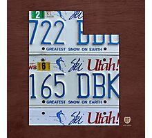 Utah License Plate Map Photographic Print