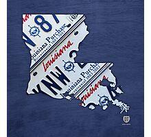 Louisiana License Plate Map Photographic Print