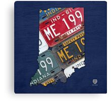 Indiana License Plate Map Canvas Print