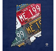 Indiana License Plate Map Photographic Print