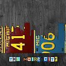 Detroit Skyline License Plate Art by designturnpike