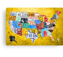 License Plate Map of the USA Car Tag Number Plate Art on Yellow Canvas Print