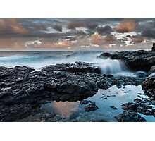 Waves on the Rocks at sunset Photographic Print