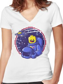Portrait of a Space-Man Women's Fitted V-Neck T-Shirt