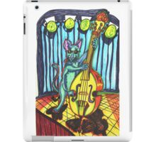 Blue Cat Playing Bass Cello Music iPad Case/Skin