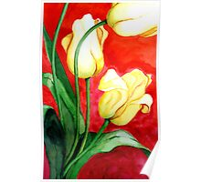 Tulips on Red Poster