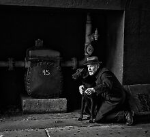 The Detective with his dog by Jeffrey  Sinnock