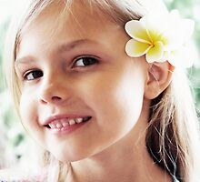 Girl And Frangipanis Flowers by Evita