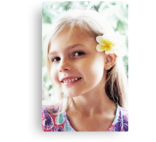 Girl And Frangipanis Flowers Canvas Print
