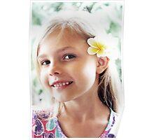 Girl And Frangipanis Flowers Poster