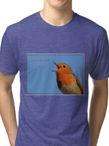 Robin Redbreast A Little Bird Told Me Message Tri-blend T-Shirt
