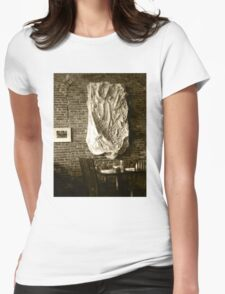 Farmer's Cafe Brick Wall Vintage Style Black and White Photograph Womens Fitted T-Shirt