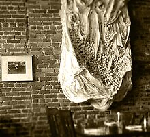 Farmer's Cafe Brick Wall Vintage Style Black and White Photograph by THarmonArt
