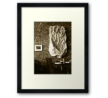 Farmer's Cafe Brick Wall Vintage Style Black and White Photograph Framed Print
