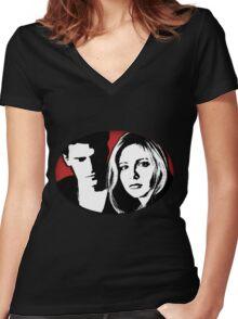 Buffy/Angel Motif Women's Fitted V-Neck T-Shirt