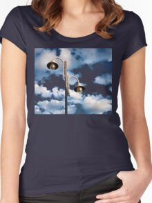 Urban landscape with lamppost  Women's Fitted Scoop T-Shirt
