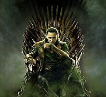 LOKI ON THE IRON THRONE by brrwsklly101