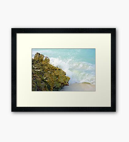 Wave and Rock Framed Print