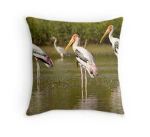 painted stork Throw Pillow