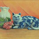 Still life with floral cat by Pam Humbargar