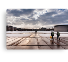 Backpackers on the road Canvas Print