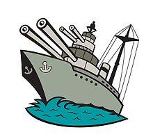 World War Two Battleship Cartoon by patrimonio