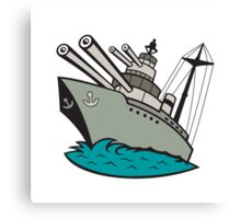 World War Two Battleship Cartoon Canvas Print