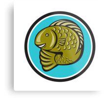 Trout Fish Jumping Circle Cartoon  Metal Print
