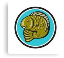 Trout Fish Jumping Circle Cartoon  Canvas Print