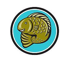 Trout Fish Jumping Circle Cartoon  Photographic Print
