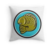 Trout Fish Jumping Circle Cartoon  Throw Pillow