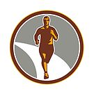 Marathon Runner Front Circle Retro by patrimonio