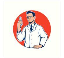 Scientist Lab Researcher Chemist Cartoon Art Print