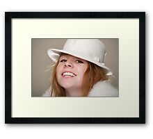 Redhead smiling in white felt hat and fur Framed Print