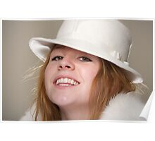 Redhead smiling in white felt hat and fur Poster
