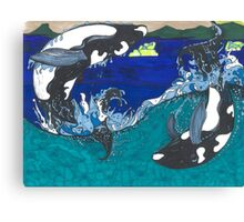 Diving Orcas Canvas Print