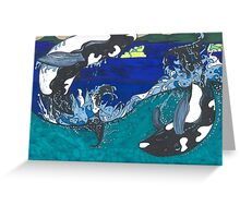 Diving Orcas Greeting Card