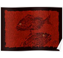 Gyotaku Scup Series 4 Red Unryu Paper Poster