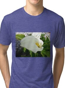A Large Single White Calla Lily Flower Tri-blend T-Shirt
