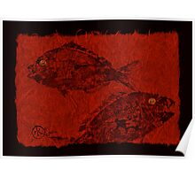 Gyotaku Scup Series 1  Red Unryu Paper Poster