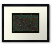Bluegills on Charcoal Unryu Paper Framed Print