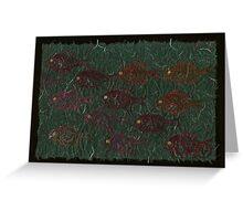 Bluegills on Charcoal Unryu Paper Greeting Card