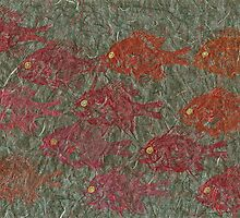 Bluegills on Charcoal Unryu Paper by IslandFishPrint