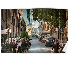 Busy Street in Rome Poster