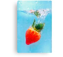 Diving Strawberry Canvas Print