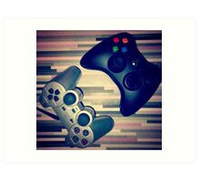 Console Yourself - PS2 & Xbox 360 Controllers Art Print