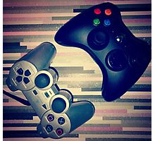 Console Yourself - PS2 & Xbox 360 Controllers Photographic Print