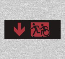 Accessible Means of Egress Icon and Running Man Emergency Exit Sign, Left Hand Down Arrow Kids Clothes