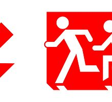 Accessible Means of Egress Icon and Running Man Emergency Exit Sign, Left Hand Diagonally Down Arrow by LeeWilson